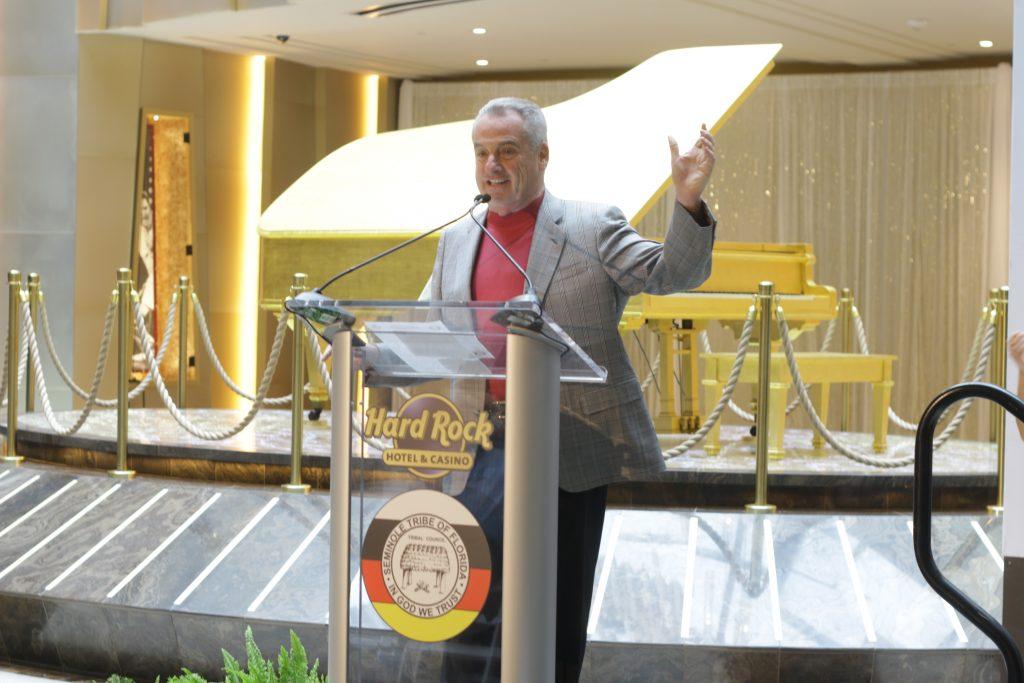 Jim Allen announcing Elvis gold piano memorabilia acquisition.