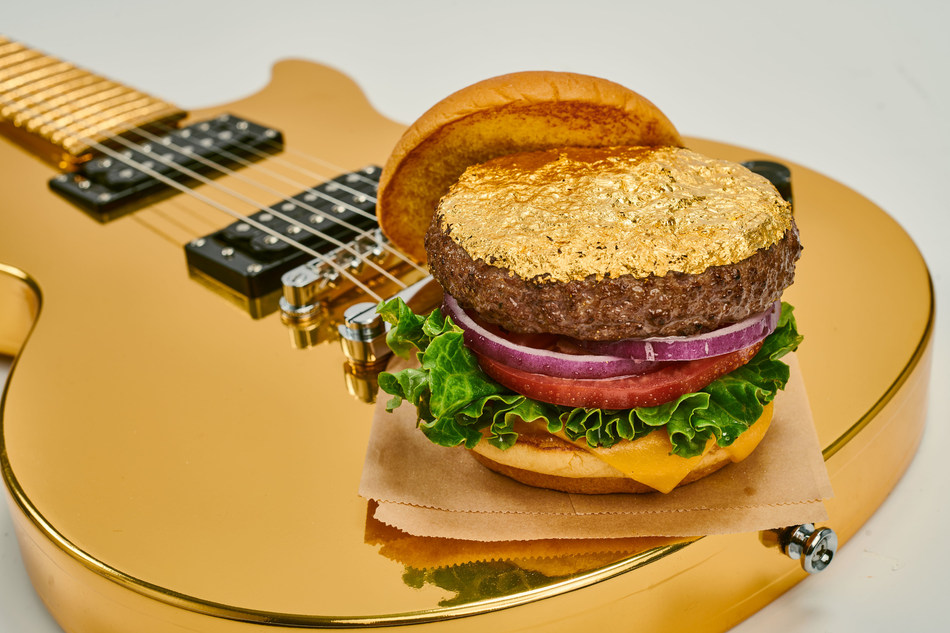 14K-Gold-Leaf-Burger-on-Gold-Guitar
